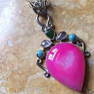 925 silver/pink druzy quartz 2 turquoise 2clear